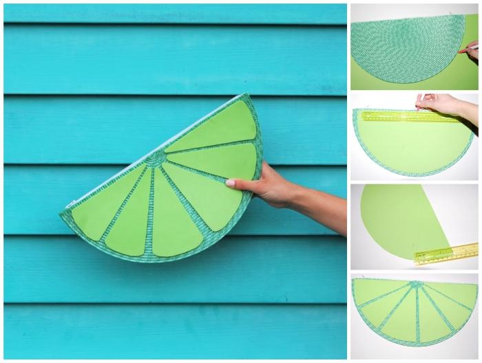 accessoire de mode parfait pour l'été, tuto sac pochette en forme de tranche de citron vert réalisée à partir d'un set de table vert