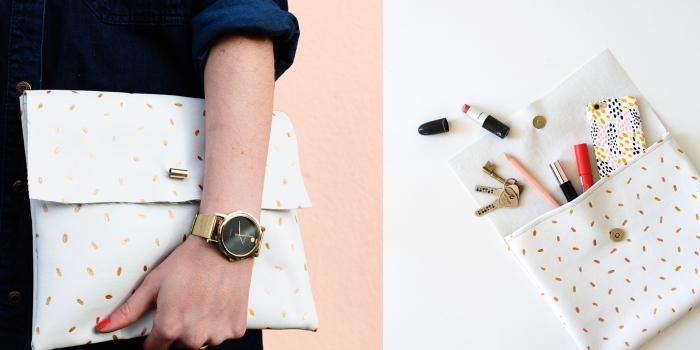 tuto de couture facile pour réaliser une pochette stylé en cuir à motifs dorés avec fermeture à bouton pression