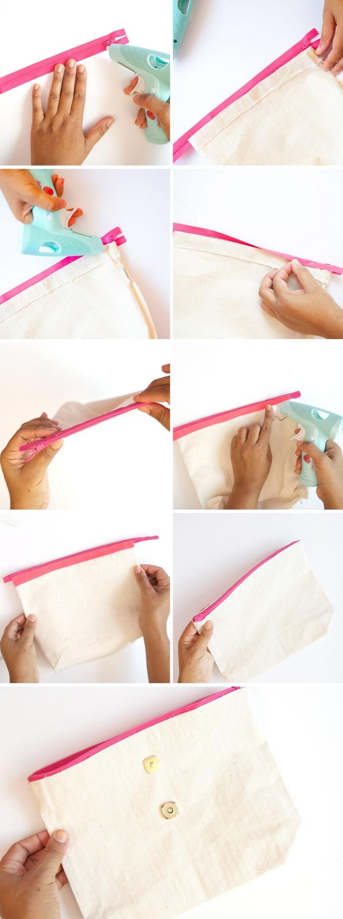 tuto sac pochette en tissu sans couture avec fermeture éclaire fixée à la colle, réalisée à partir le bas découpé d'un tote bag, rehaussé par un petit pompon en cuir