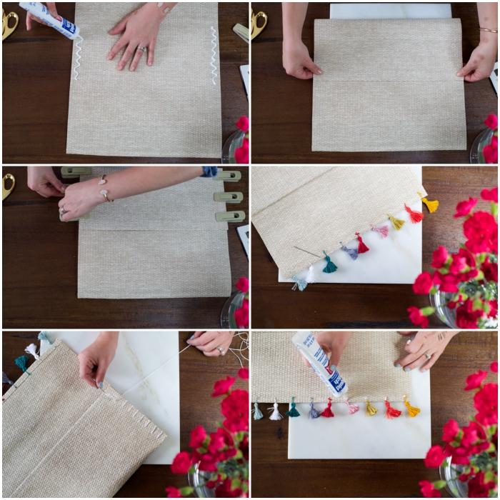 diy pochette réalisée à partir d'un set de table en fibre naturelle, bordée de petits pompons colorés