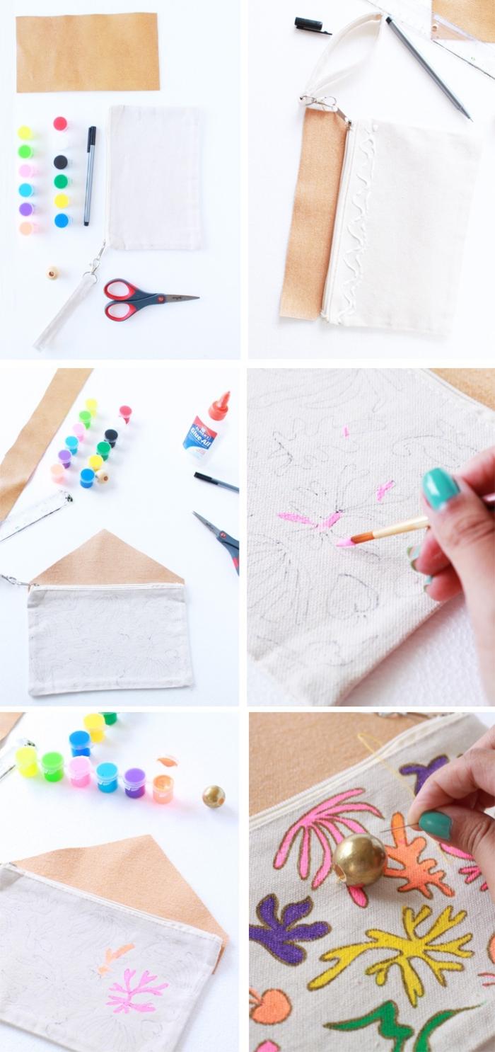 tuto facile pour personnaliser une pochette en coton canvas avec des motifs feuilles matisse colorées, comment faire une pochette en tissu facile et originale