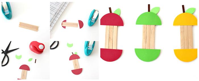 exemple de bricolage automne, comment faire une pomme en batonnets de glace avec des demi cercles en papier coloré