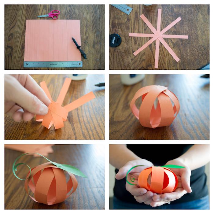 exemple de citrouille an bande de papier orange avec des feuilles papier vert, activité manuelle maternelle automne tuto