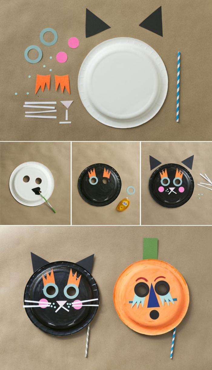 activité manuelle facile et rapide avec des assiettes en carton transformées en chat noir et citrouille d'halloween
