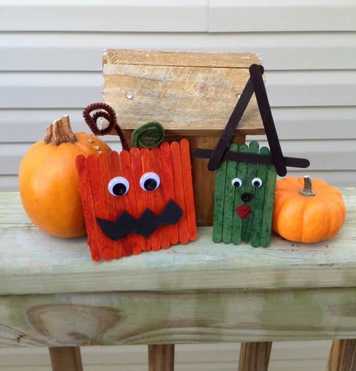 que faire avec des bâtonnets de glace de bois, activité manuelle halloween pour faire des personnages thématiques en bâtonnets de glace