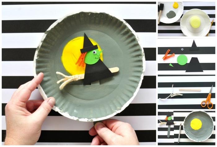 activités manuelles de maternelle, une sorcière d'halloween sur un balai en assiette de carton peinte en gris et jaune