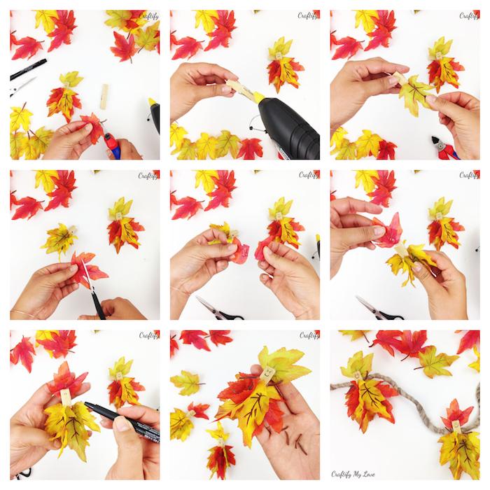 guirlande diy de feuilles mortes artificielles sur pinces à linge pour faire un bonhomme fée en feuilles mortes, tuto etape par etape bricolage