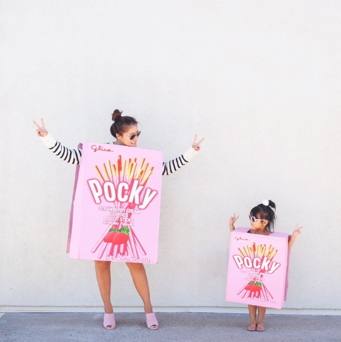 costume rigolo pour Halloween, idée costume parent et enfant pour Halloween, deguisement a faire soi meme facile
