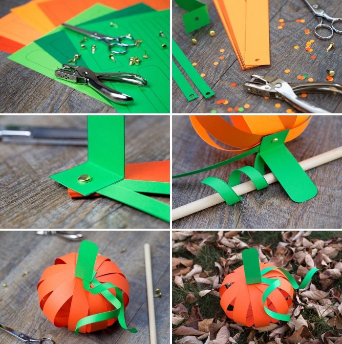 activité manuelle primaire sur le thème d'halloween, tuto facile pour réaliser une citrouille en bandes de papier orange et vert