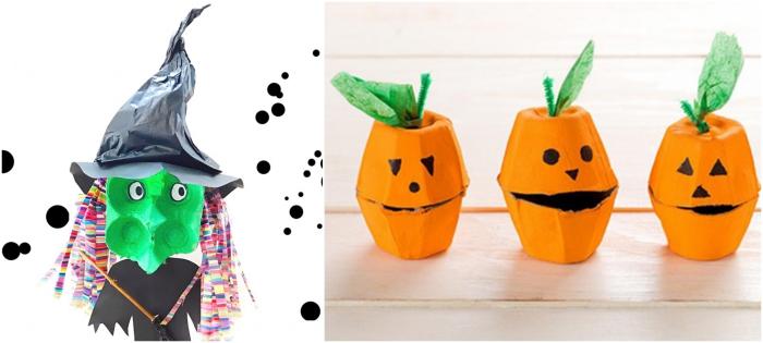 idée de bricolage halloween maternelle avec une boîte d'oeufs récupérée, sorcière effrayante et petites citrouille-lanternes en boîte d'oeufs récup