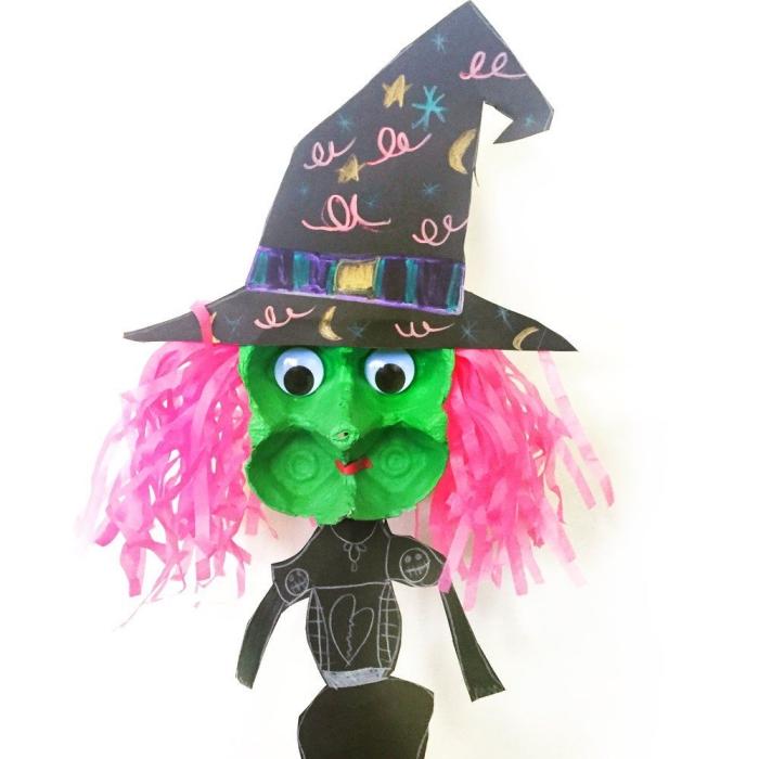 que faire avec une boîte d'oeufs, activite manuelle d'halloween, réaliser une sorcière à partir des matériaux récupérés