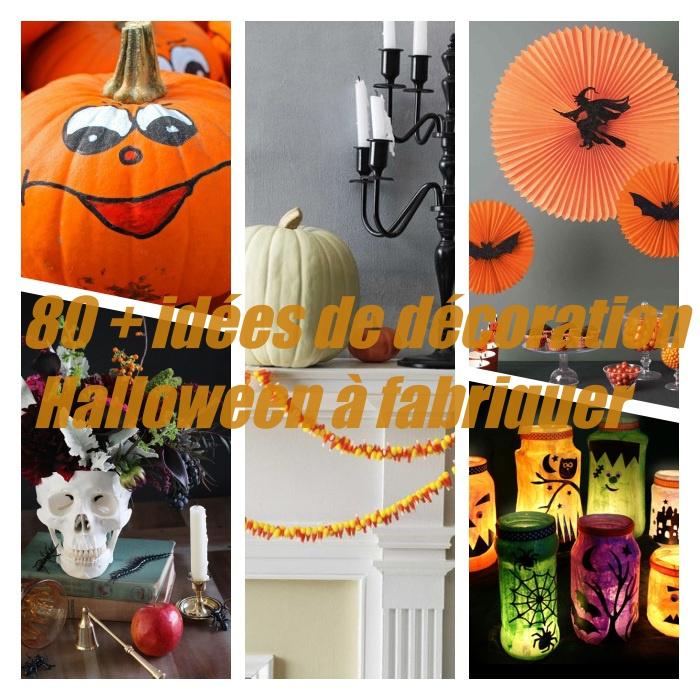 décoration halloween a fabriquer en citrouille décorée, crâne transformé en vase, photophore de halloween, party decor halloween