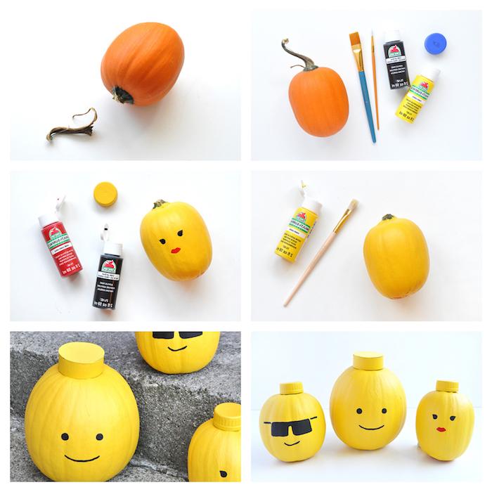 activités manuelles halloween avec potiron citrouille repeinte en jaune avec dessin traits de visage noirs et corps en jaune, deco escalier original