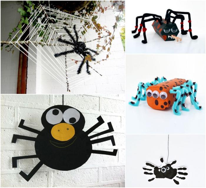 activités manuelles sur le thème d'halloween pour réaliser des personnages d'halloween variés, différentes techniques pour faire une araignée acile