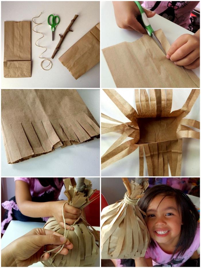 idée d'activité manuelle facile et rapide sur le thème d'halloween, tuto pour fabriquer un balai à partir d'un sac en papier kraft