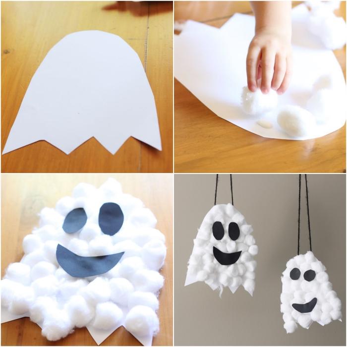 comment fabriquer des fantômes d'halloween en coton et en papier pour les suspendre, bricolage halloween maternelle pour réaliser une déco thématique facile et originale