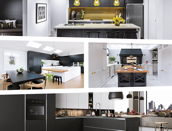 idées de décoration stylée et moderne dans cuisine avec îlot central, design intérieur dans une cuisine ouverte sur le séjour