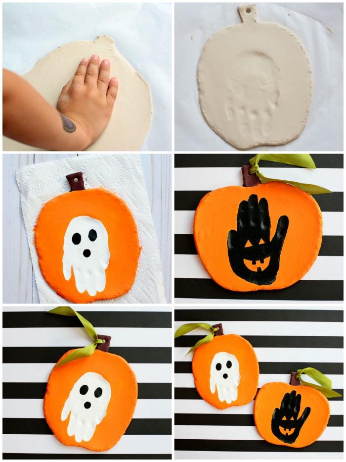 jolie citrouille d'halloween en argile auto-durcissante avec une empreinte de main peinte en blanc ou en noir à l'intérieur façon fantôme d'halloween, idée d'activité halloween amusante de maternelle