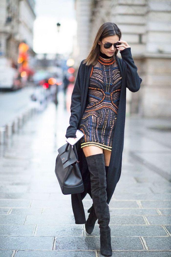 Cuissarde taupe tendance, cuissardes cuir ou velours avec robe courte et gilet longue, tenue d'hiver chic femme élégante automne tenue stylée