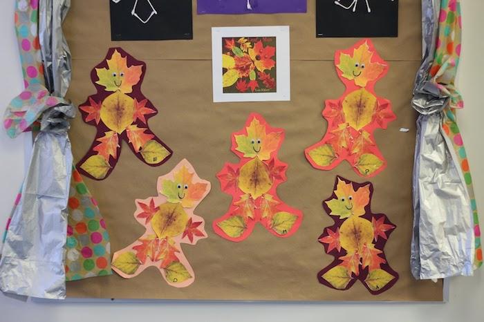 petits bonhommes en feuilles mortes sur du papier collés sur de fond en papier kraft, activité pour l automne