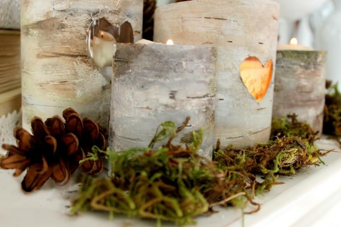 bougeoirs décoratifs fausse écorce de bouleau, pommes de pin et brins de mousse verte