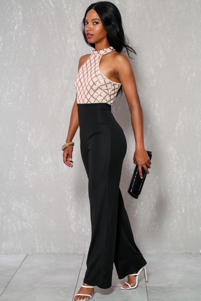quels accessoires pour une cérémonie, comment s'habiller pour assister à un mariage, modèle de combinaison chic en noir et beige