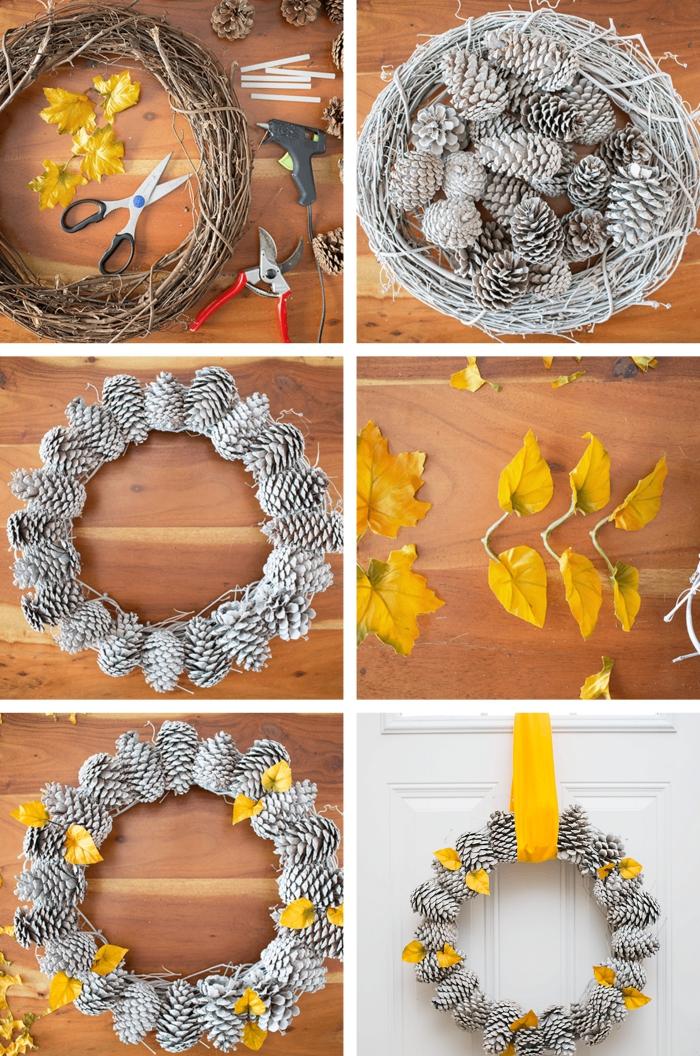 tutoriel pour apprendre à réaliser une jolie guirlande de Noel avec pommes de pins peintes en blanc décorées de feuilles séchées jaunes