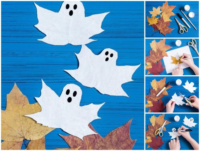 des feuilles d'automne transformées en fantômes d'halloween à l'aide d'un peu de peinture blanc, une paire de ciseau et un feutre noir, bricolage halloween maternelle facile et rapide