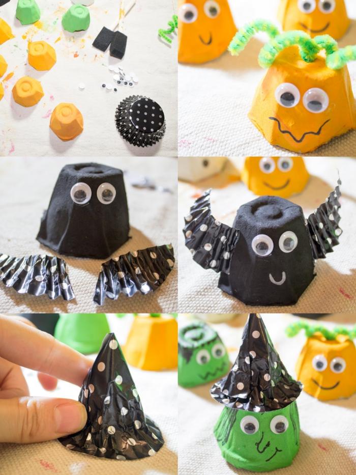 activité manuelle maternelle pour fabriquer des personnages d'halloween variés à partir des matériaux de récupération, chauve-souris, citrouille et sorcière réalisés à partir d'une boîte d'oeufs recyclée