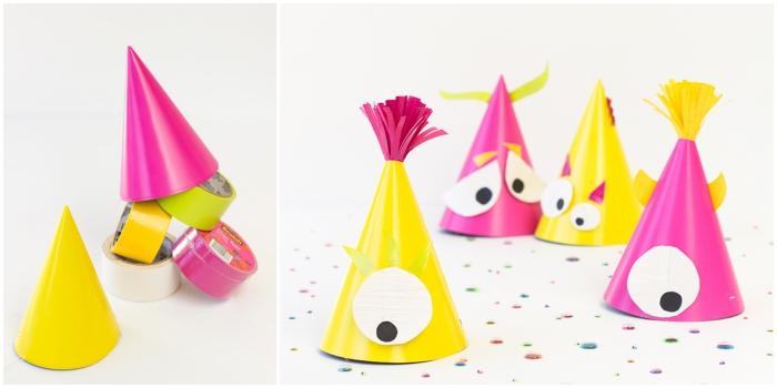 des chapeaux de fête pointus en jaune et rose décorés façon monstres rigolos d'halloween, activiter manuelle amusante sur le thème d'halloween