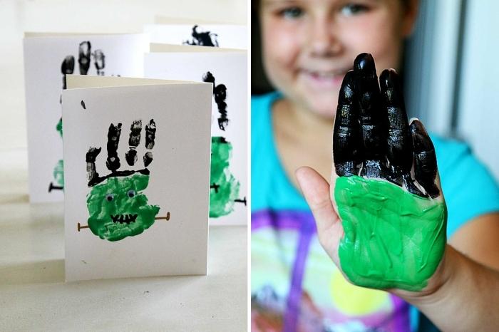 projet de peinture et bricolage halloween maternelle, créature de frankenstein en empreinte de main sur une carte diy