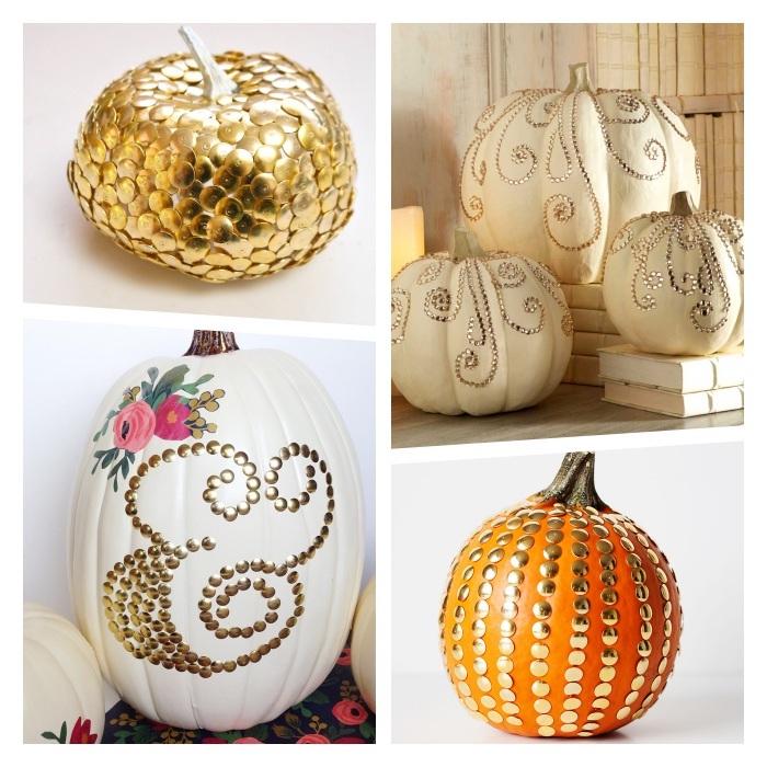 decoration citrouille originale en punaises couleur or pour créer motifs variés, deco a faire soi meme sur theme halloween