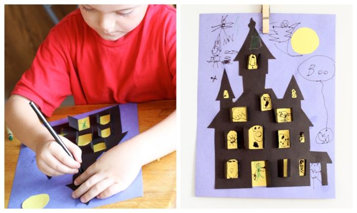 comment réaliser une maison hantée spécial halloween entièrement en papier, activité manuelle maternelle sur le thème d'halloween