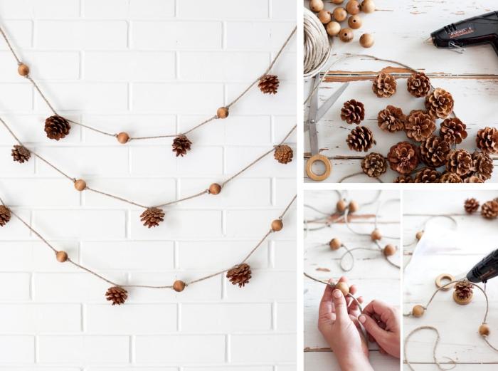 tutoriel pour apprendre comment faire une guirlande, diy objet pour décoration murale, idée pomme de pin deco murale