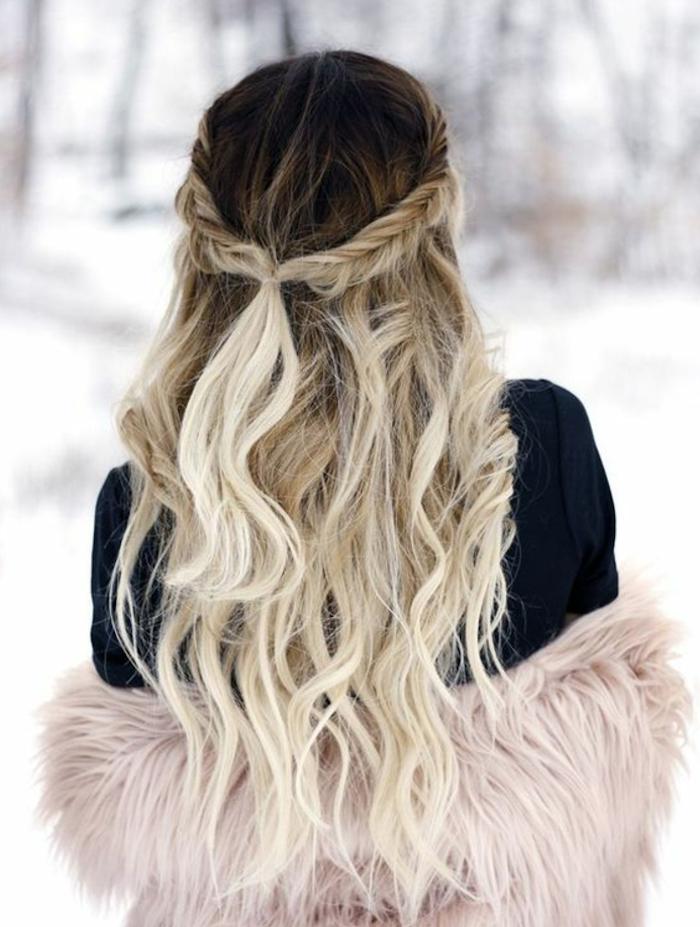 coloration tie dye blond polaire sur cheveux longs ondulés épais avec tresse couronne