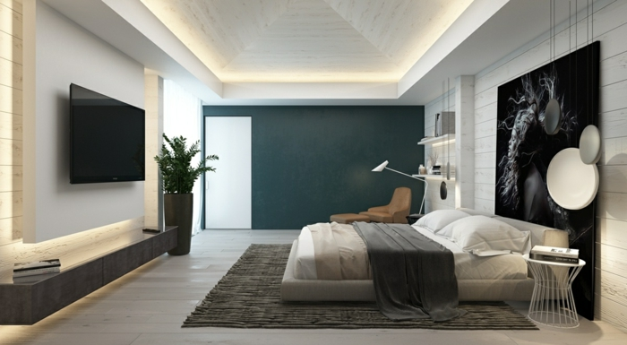 comment décorer un grand pan de mur, peinture pour chambre noire et blanche, tv murale, grande photo