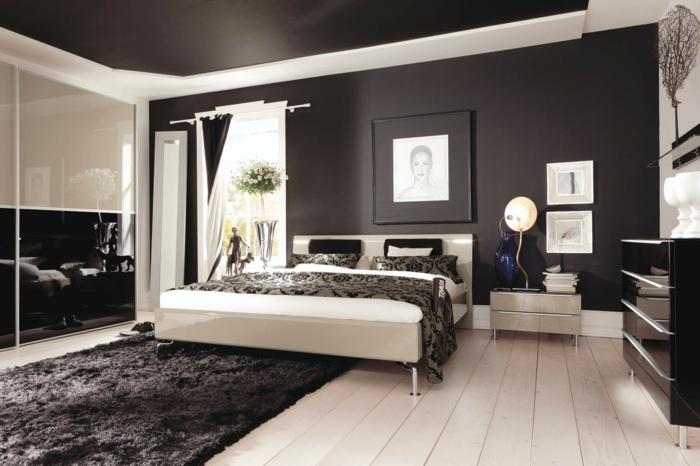 lit blanc, deco peinture chambre en deux couleurs, tapis gris moelleux, sol en planches blanches