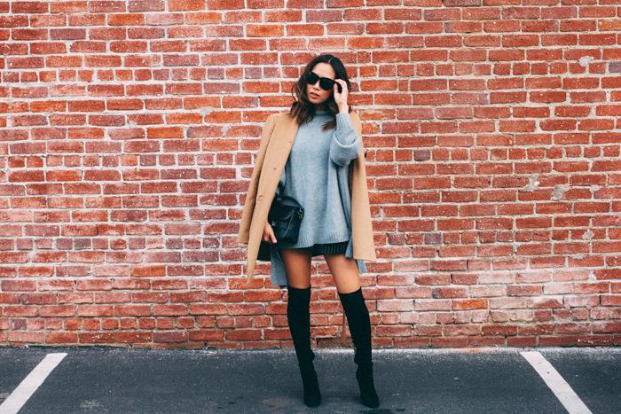 Cuissardes cuir ou cuissarde chaussette, tenue d'hiver chic, s'habiller chic en hiver 2018, femme tenue décontracté chic