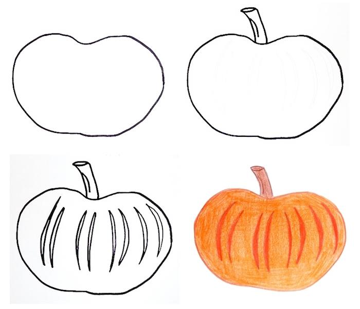 tutoriel pour dessiner facilement une citrouille à colorier pour halloween