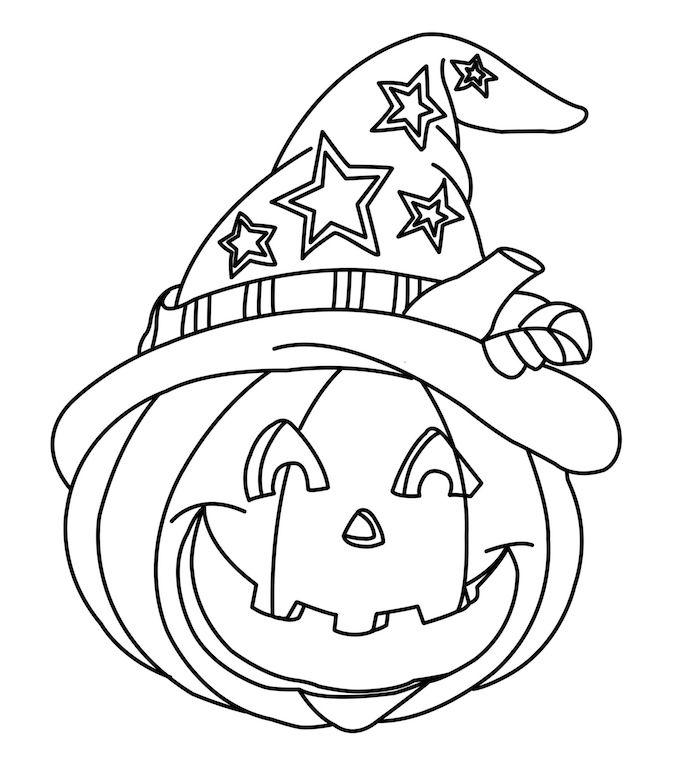 dessin halloween facile de citrouille souriante avec chapeau à colorier