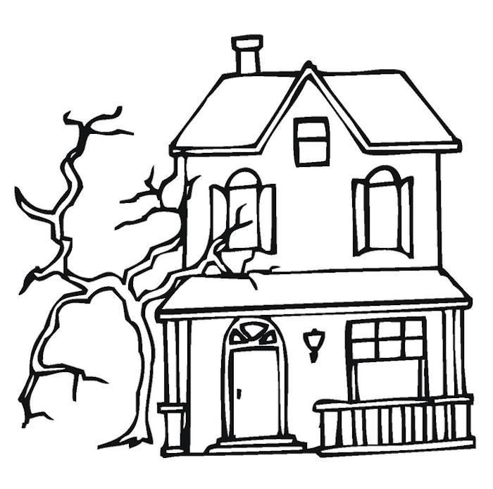 deco halloween a imprimer maison hantée facile en noir et blanc pour coloriage enfant
