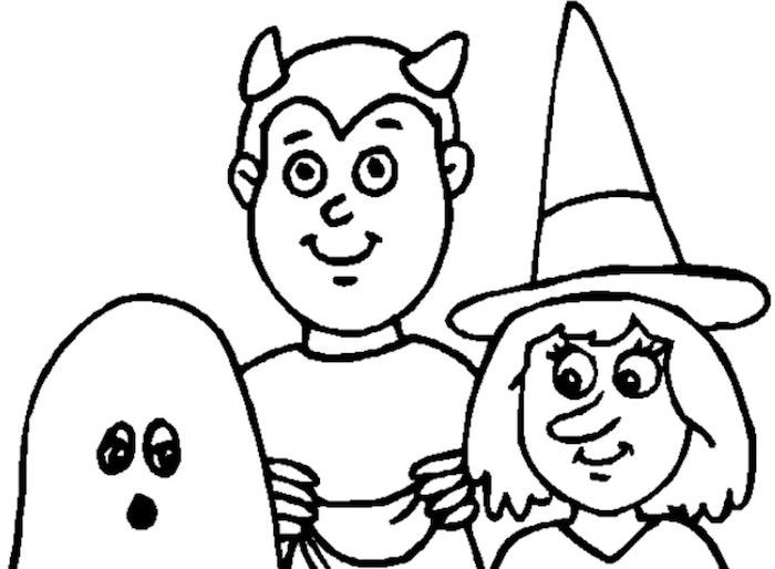 coloriage halloween sorciere et fantome en noir et blanc à colorier pour enfant