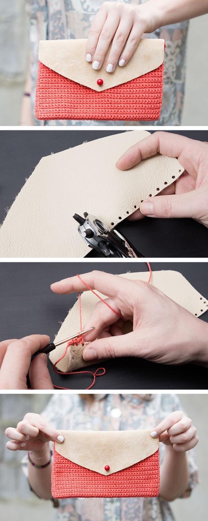 tuto sac pochette bi-matière en crochet couleur corail et rabat en cuir