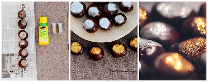 decoration de marrons avec des paillettes or et argent collées avec de la colle, exemple d activités manuelles pour petits