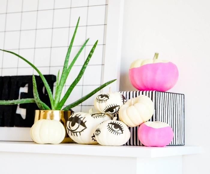 idée comment fabriquer des objets stylés dans l'esprit Halloween, accessoires chambre fille avec petites citrouilles blanches