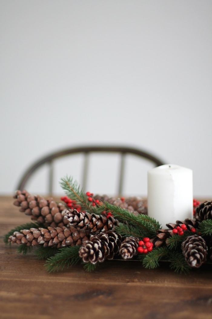 pomme de pin deco pour Noel, faire un accessoire pour déco de table de Noel avec branches de sapin et pommes de pin