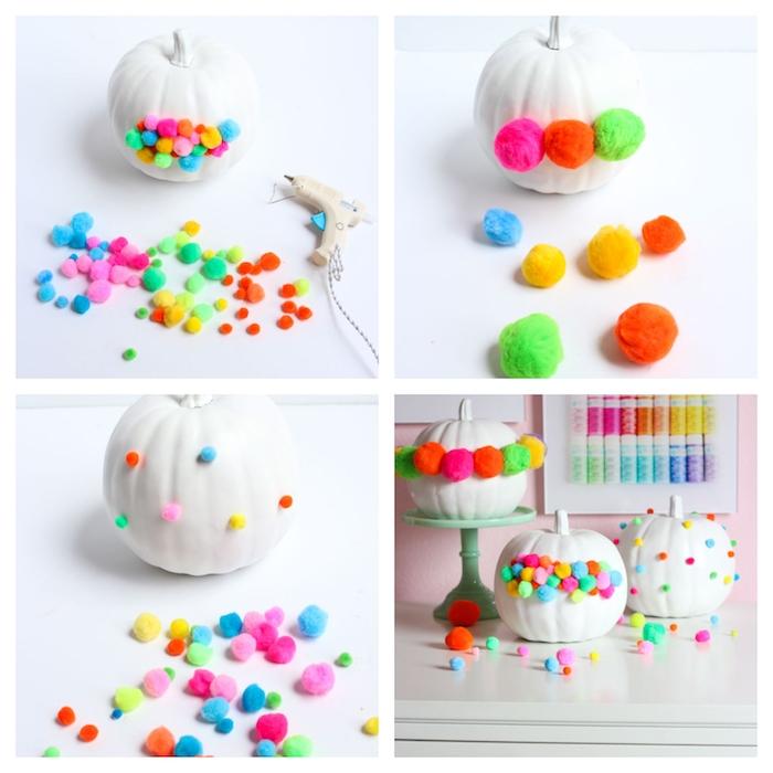 idée originale comment decorer une citrouille avec des pompons colorés collés avec pistolet à colle, décoration halloween a fabriquer