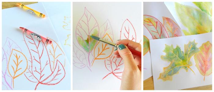 dessin de feuilles mortes en pastel et aquarelle, quel bricolage pour l automne en primaire et maternelle