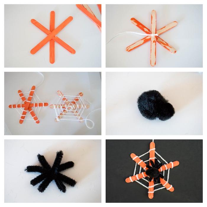 deco halloween a faire soi meme, toile d araignée en bâtonnets de glace repeints en orange avec fils blancs et araignée en pompon et cure pipe noire
