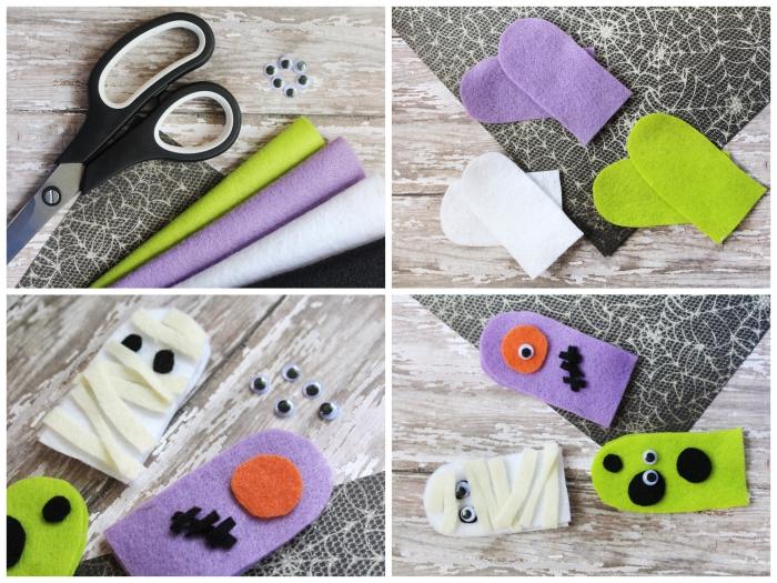 tuto pour fabriquer des marionnettes à doigt monstres d'halloween rigolos en feutrine sans couture, activite manuelle sur le thème d'halloween pour amuser les enfants
